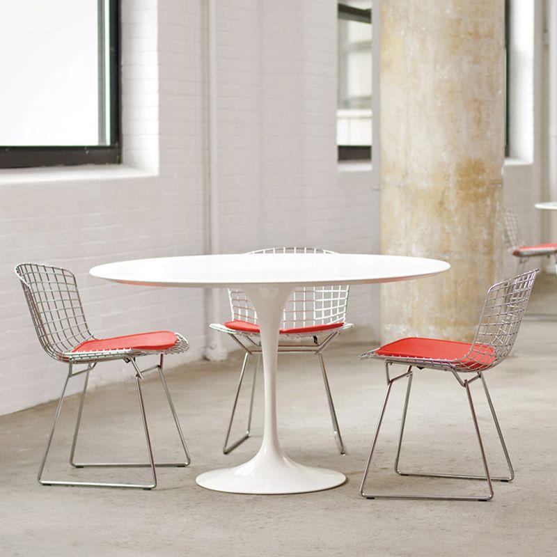 Tablerondesaarinenblancknoll Harry Bertoia Chair Dining - Tulip pedestal dining table