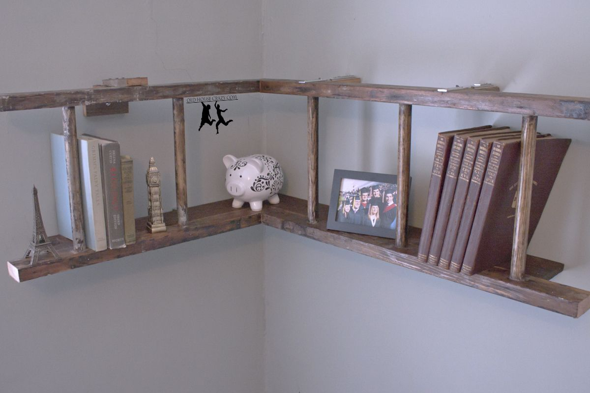 Diy fire an old firehouse ladder turned into a book shelf