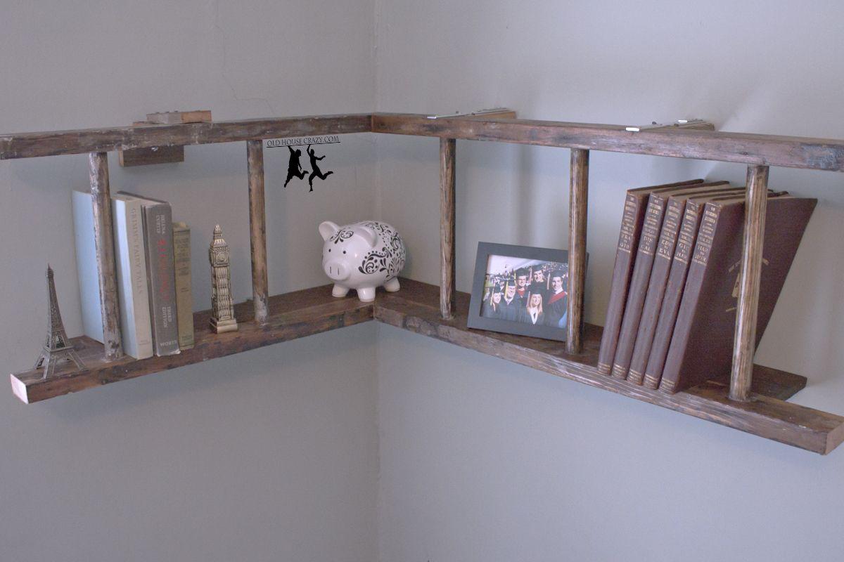 Antique ladder book shelf u diy antique ladder book shelves and