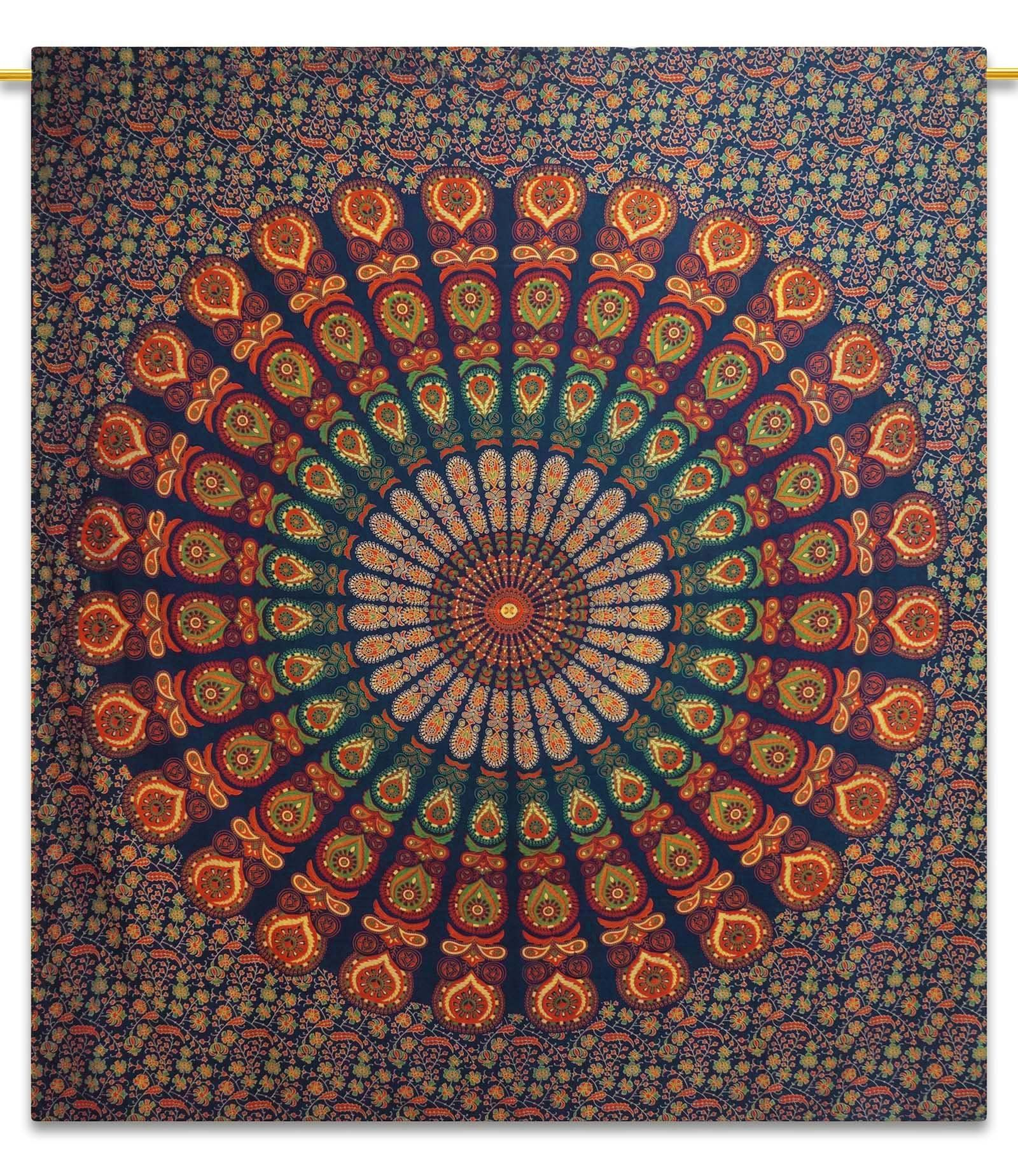 Amazon Queen Bleu handicrunch mandala coton bleu tapisserie pleine grandeur