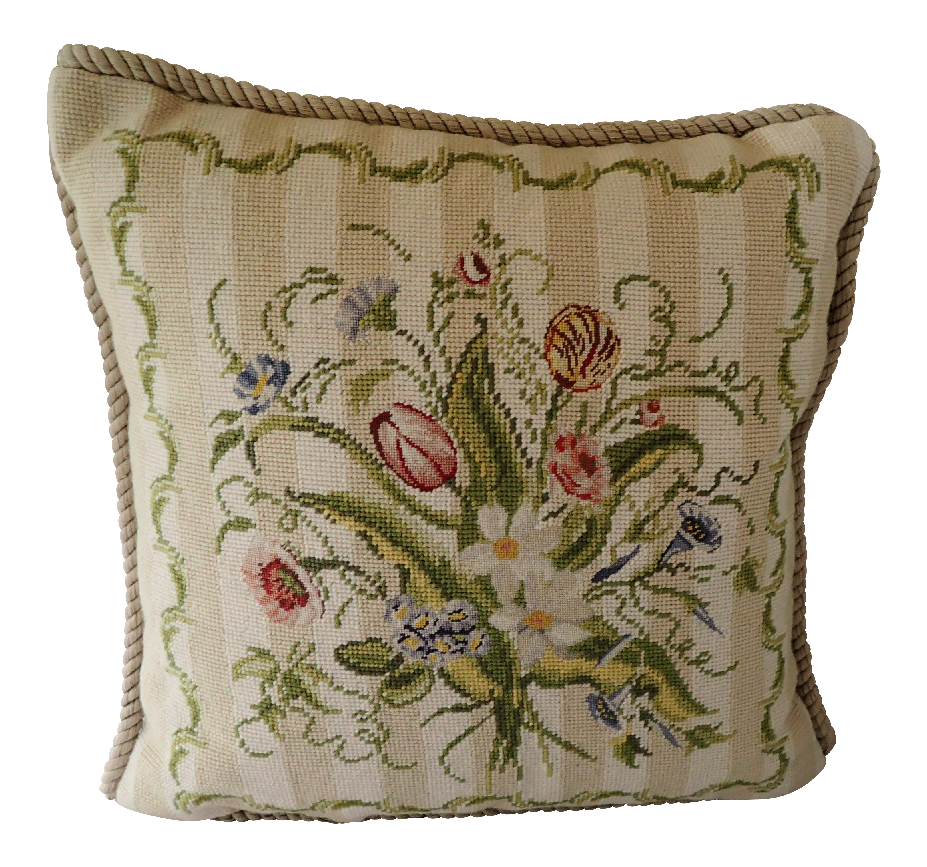 French Country Style Needlepoint Pillow On Chairish