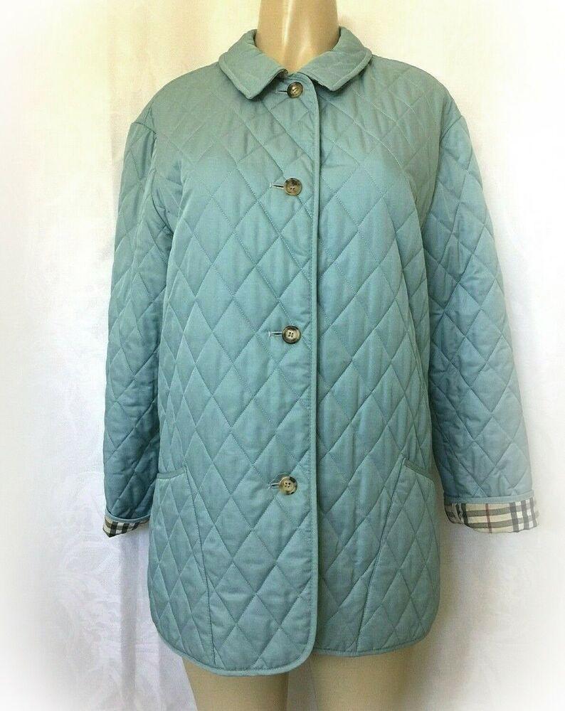 Burberry Jacket Coat Quilted Diamond Light Blue Nova Check Lining M Long Sleeve Burberry Softshell Any Burberry Jacket Jackets Coats Jackets