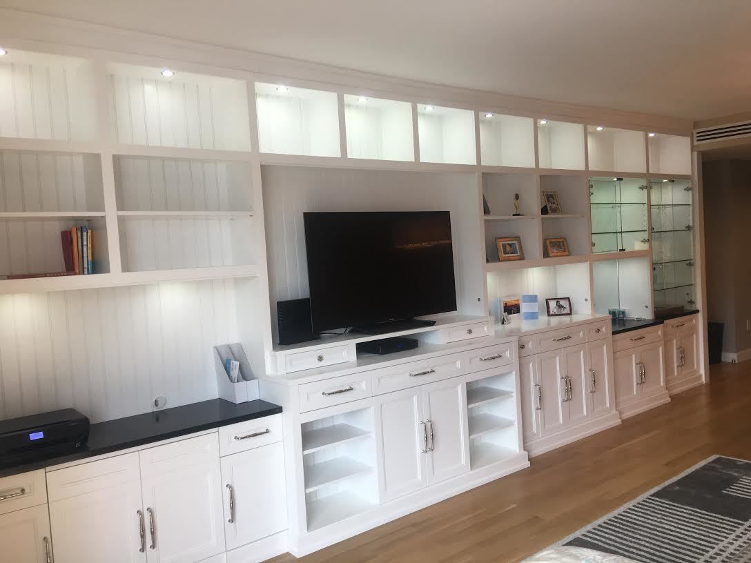 Gothic Cabinet Craft - CUSTOM - Built-in Wall Unit With White Satin ...