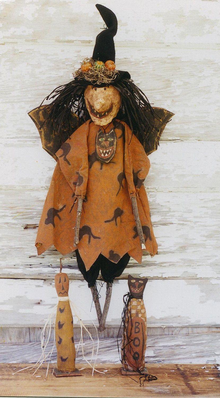 Primitive halloween doll | Primitive Halloween Pattern EPattern PDF Witch Doll Bat Black Cat JOL ...