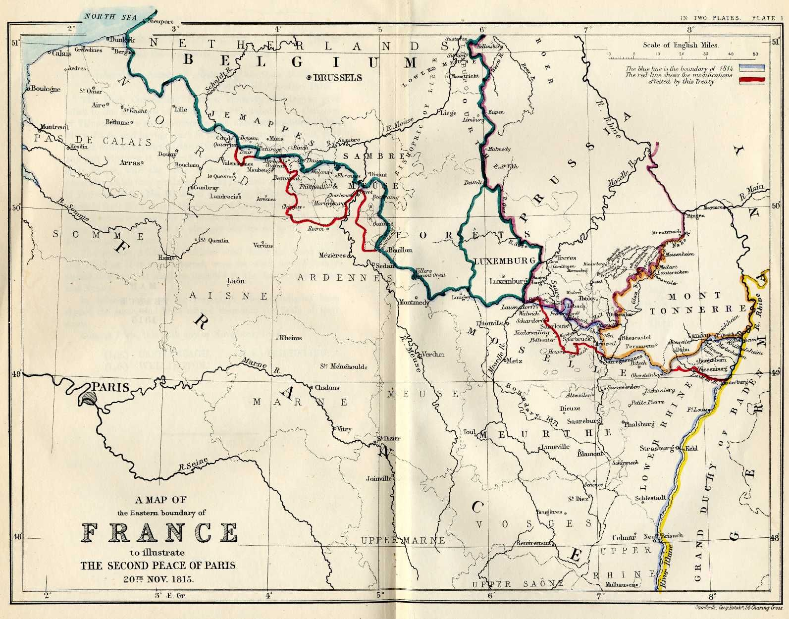 Northeastern Border Of France According To The Treaties Of Paris - Treaty of paris map