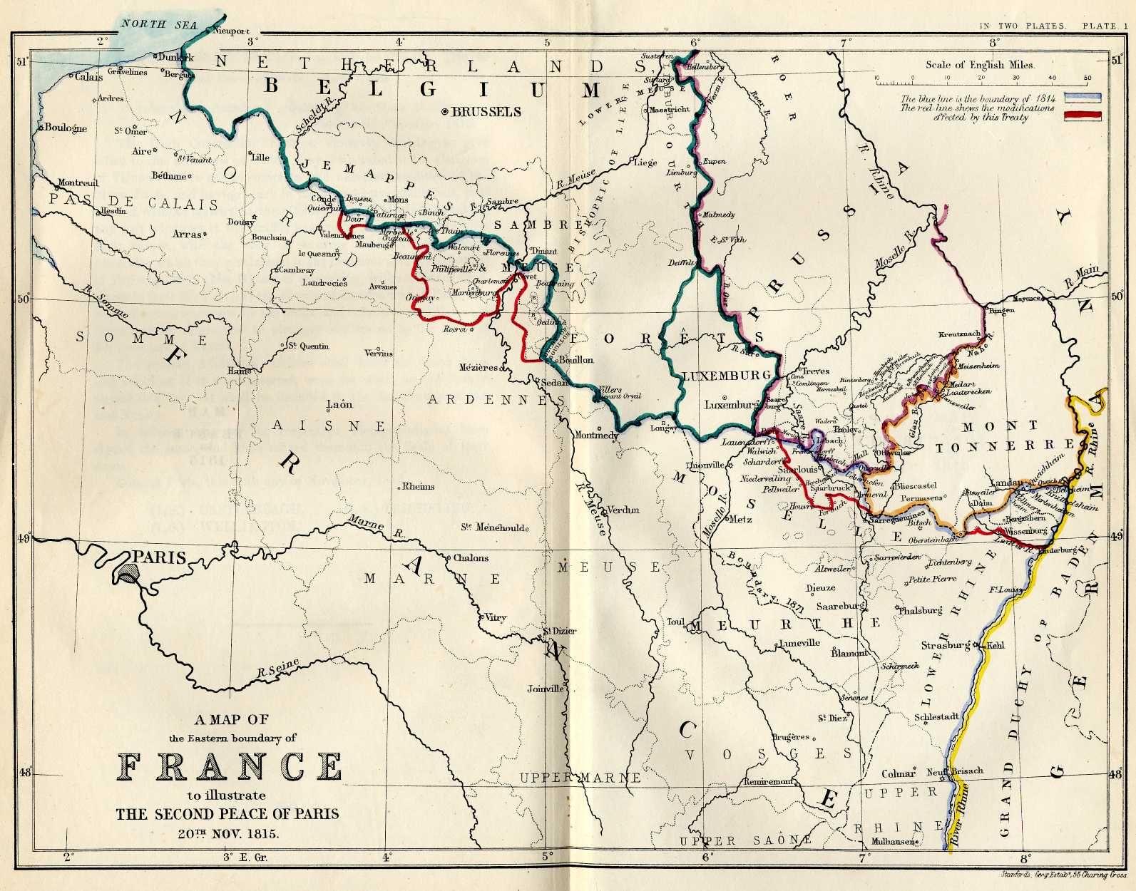 Northeastern France According To Treaties Of Paris Of 1814 1815