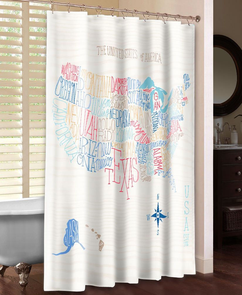 Hand Lettered US Color Map Shower Curtain