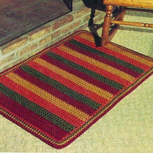 Crochet Rug Patterns Easy Striped Crochet Rug Pdf Pattern Vintage