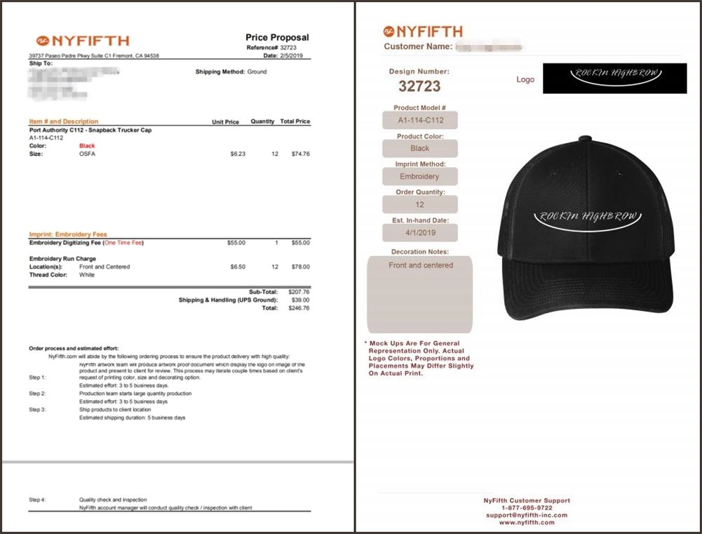 How to Receive a Free Price Proposal and Mock Up from NYFifth