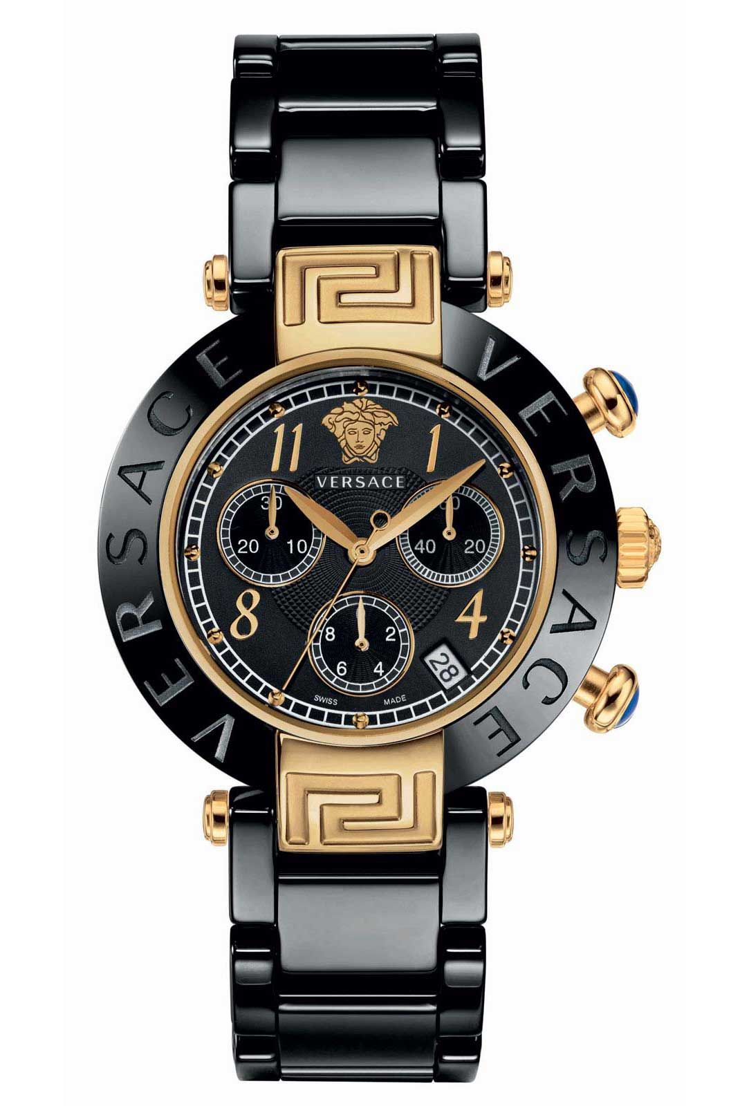 VERSACE REVE CHRONO CERAMIC 40mm IN BLACK CERAMIC AND YELLOW GOLD ... 2c9ed51ed0