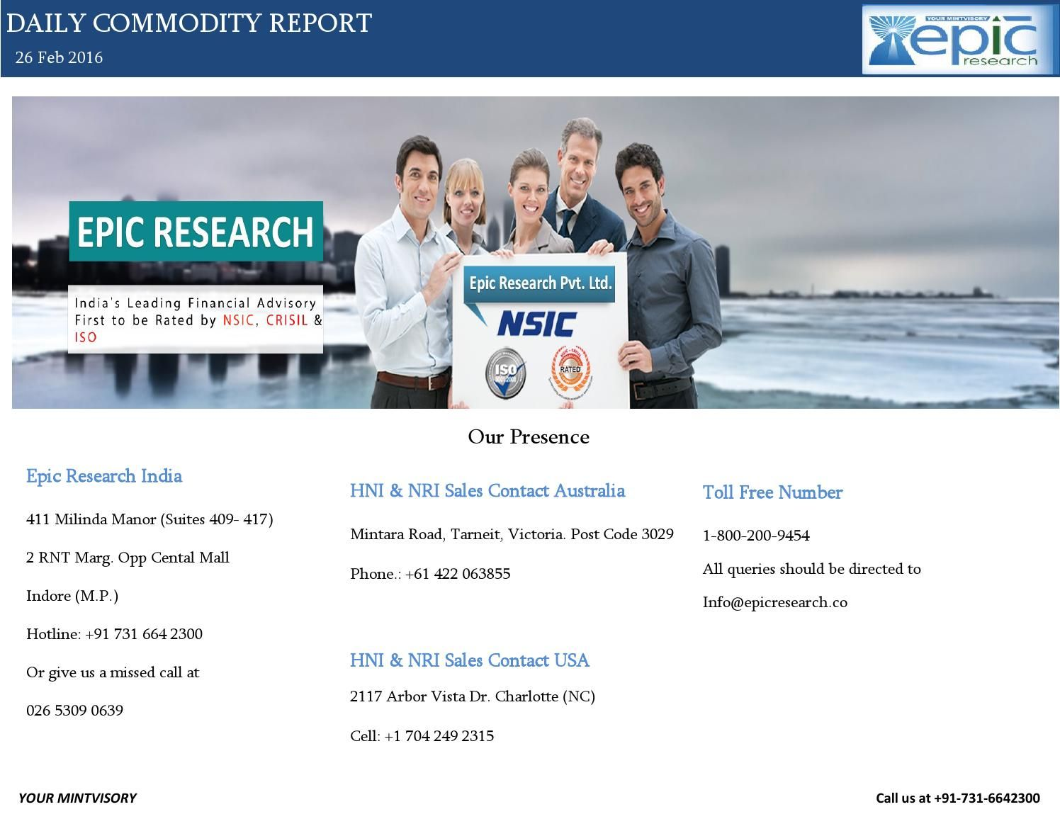 Epic Research Daily Commodity Report  February   The OJays