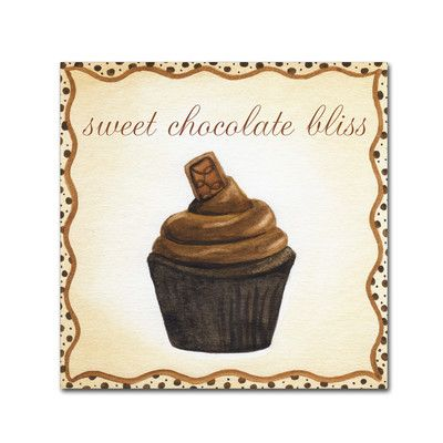 "Trademark Art 'Chocolate Cupcake' by Jennifer Nilsson Graphic Art on Wrapped Canvas Size: 14"" H x 14"" W x 2"" D"
