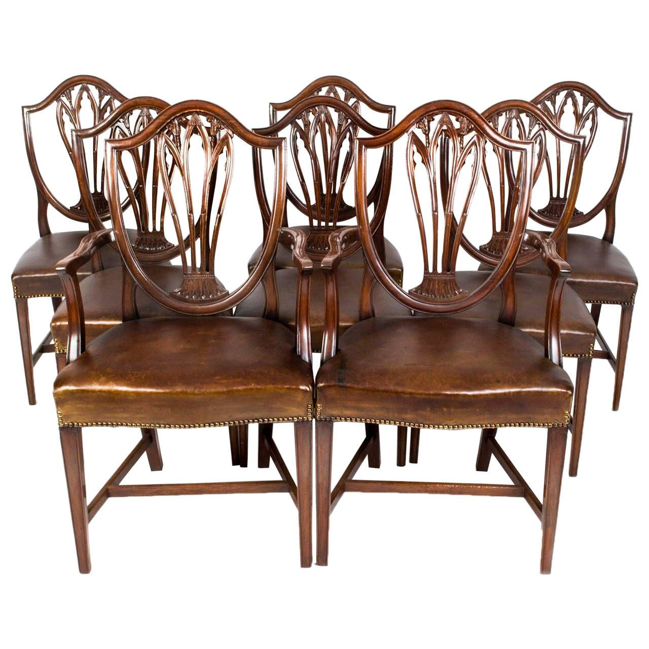 Antique Set 8 English Hepplewhite Dining Chairs c.1900 - Antique Set 8 English Hepplewhite Dining Chairs C.1900 Dining