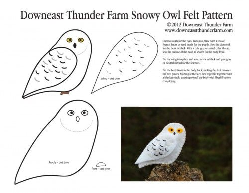 Snow Owl Pattern Pic Stuffed Animal How To Make A Toy Plushie Tutorial Plushies Birds Diy Projects Sewing Template Animals