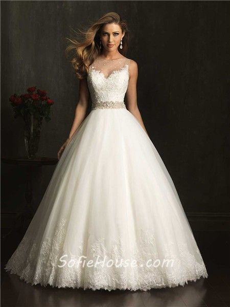 33a114751b5d Ball Gown Sheer Illusion Neckline Lace Tulle Wedding Dress With Belt ...