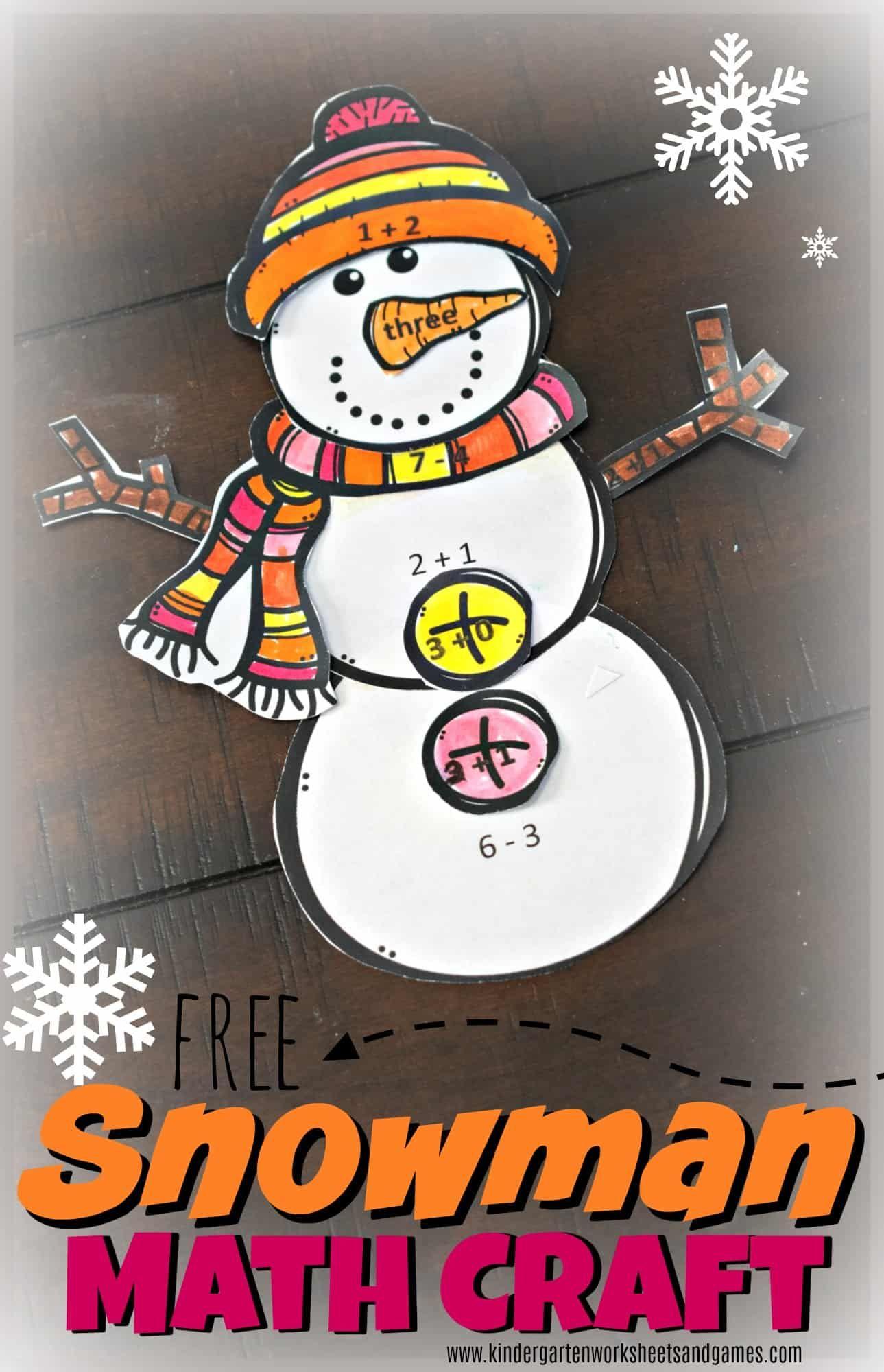 Free Snowman Math Craft