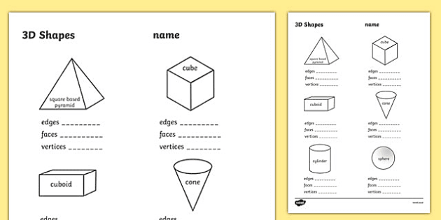 3d Shape Properties Worksheets Early Years Maths