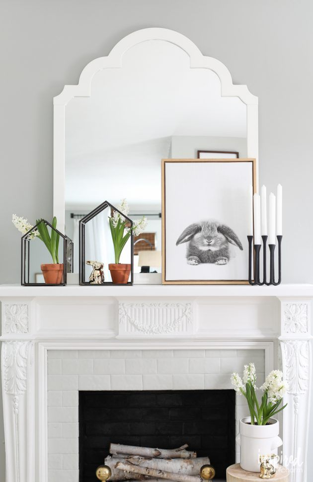Welcome Spring with a Nature-Inspired Mantel | Farmhouse mantel ...