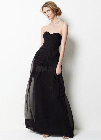 black chiffon sweetheart floor length dress
