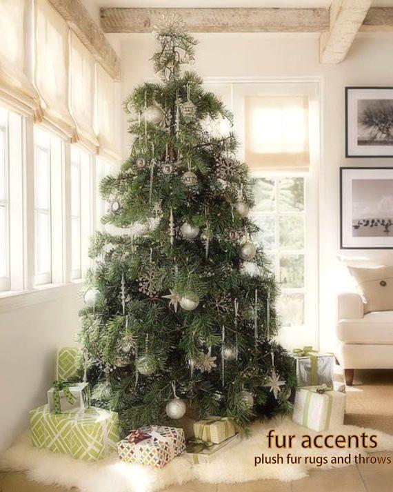 Classic Faux Fur Christmas Tree Skirt Shaggy Shag Faux