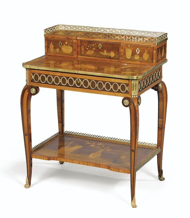A GILT-BRONZE MOUNTED AMARANTH, TULIPWOOD AND MARQUETRY BONHEUR-DU-JOUR STAMPED…