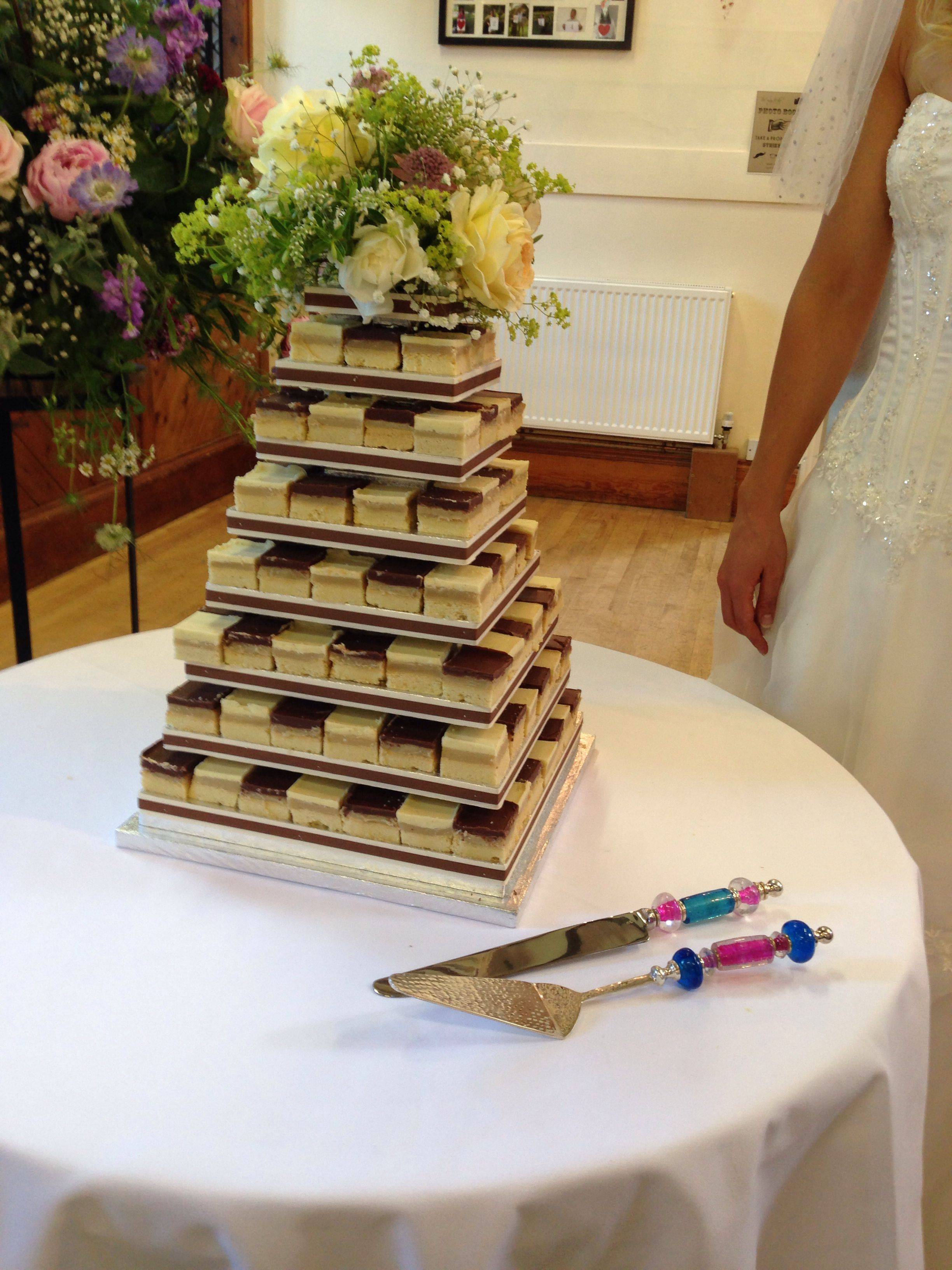 Millionaires Shortbread Wedding Cake Served With Beaded Cake