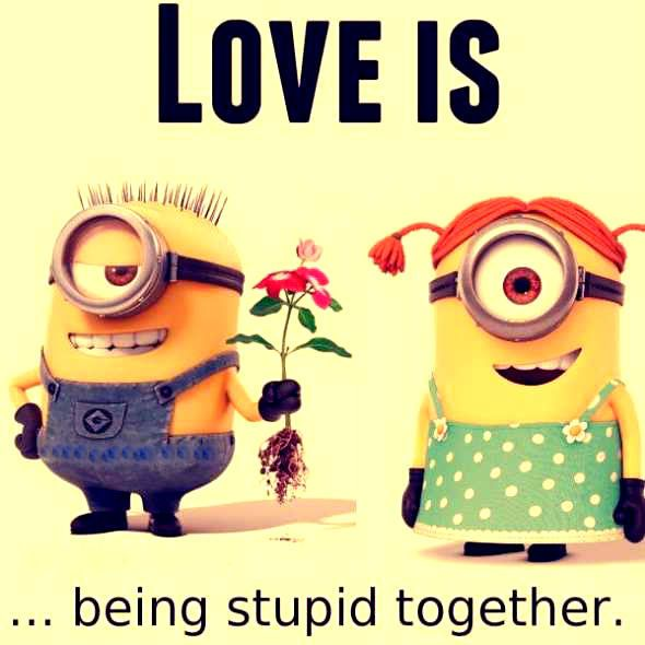 Love Is Being Stupid Together minion minions minion quotes minion quotes and sayings minion love quotes minions cute love quotes