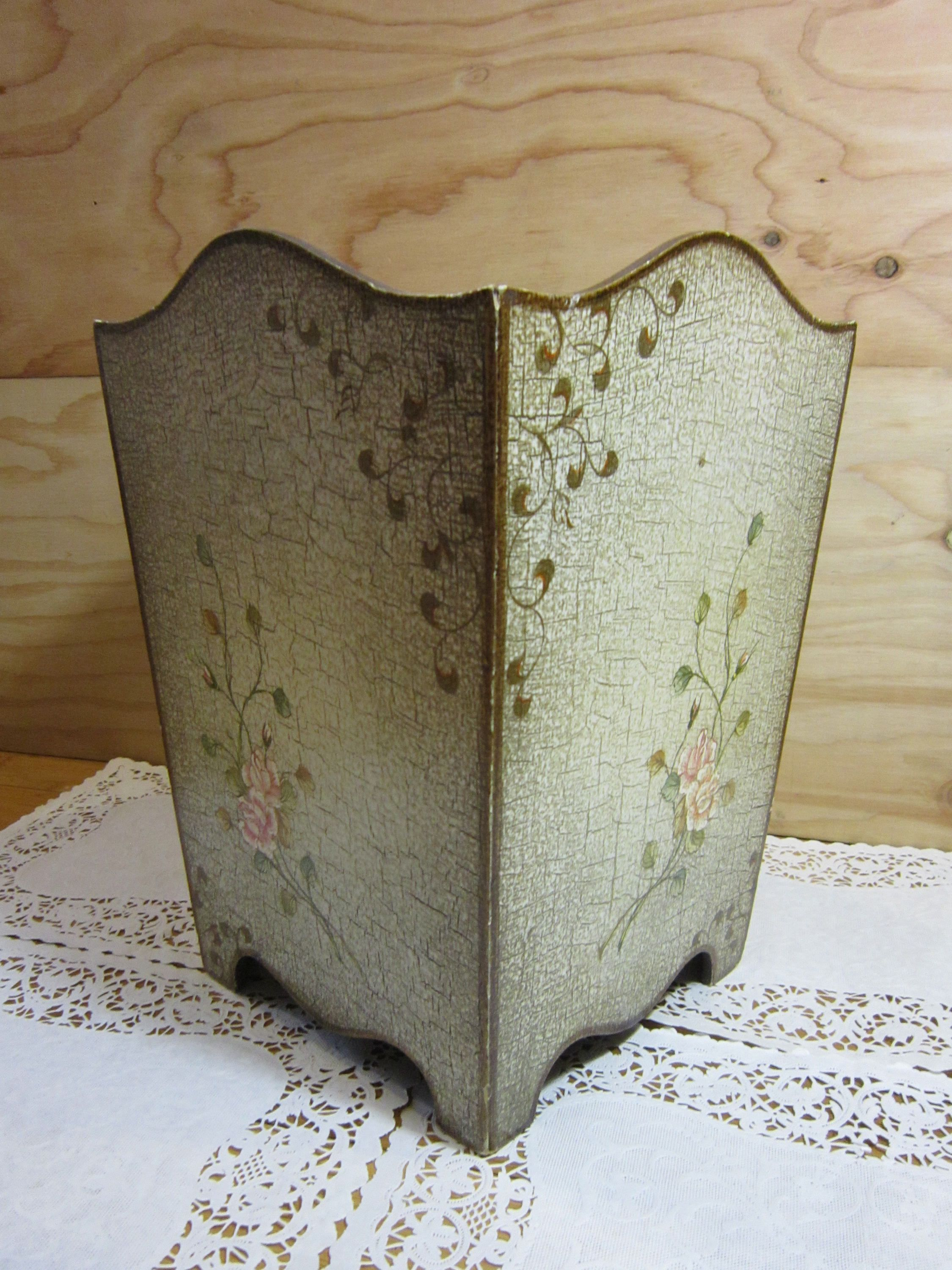 Shabby Chic Waste Baskets Vintage Shabby Chic Wood Waste Basket Wooden Waste Paper Basket
