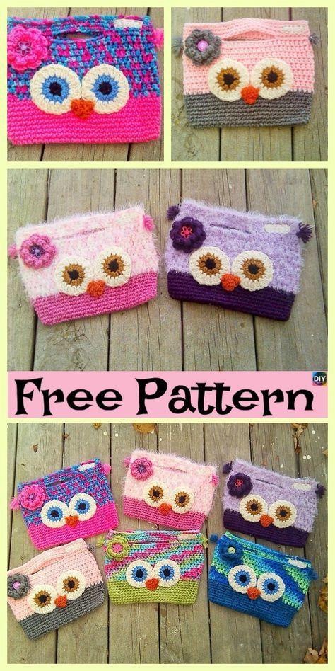 Adorable Crochet Owl Bag Free Patterns Crochet Bags Pinterest