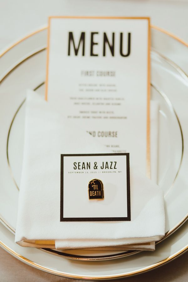 modern wedding place setting - photo by Amber Gress http://ruffledblog.com/modern-brooklyn-wedding-at-the-wythe-hotel