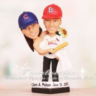 cubs and cardinals baseball wedding cake toppers change this to nationals for me and this