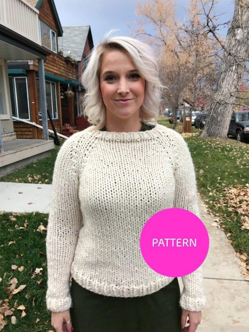 Photo of KNITTING PATTERN* Stockinette Beginner raglan, beginner knit sweater, chunky knit sweater, simple knit sweater, knit sweater pattern, jumper