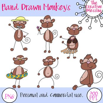 I created all of these little monkeys. There are 6 different ones that come in transparent, black and white and color. There are 18 Clip art pieces in all. You may use the images for personal or commercial use and freebies on Teachers Pay Teachers or