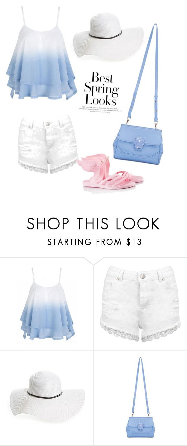 """Untitled #21"" by cest-la-vie-zee ❤ liked on Polyvore featuring Miss Selfridge, David & Young, Versace, Ancient Greek Sandals and H&M"