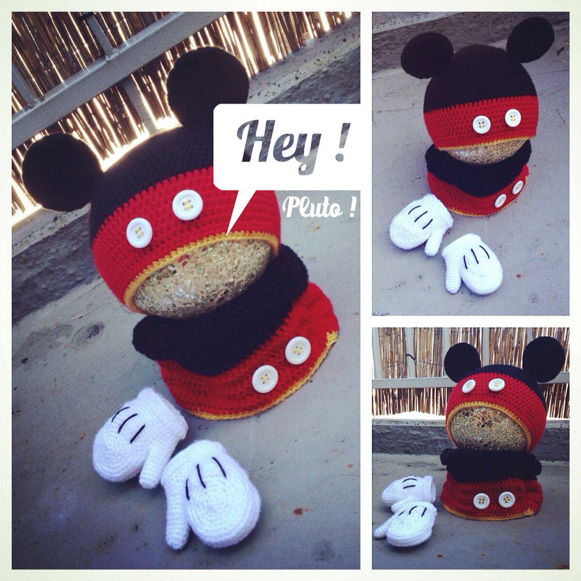 Mickey Mouse Crochet Hat, Scarf & Gloves Mickey Maus Häkel Hut, Loop ...