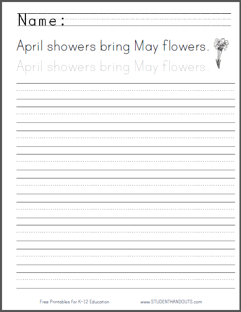 April Showers Handwriting Practice Worksheet Free To Print (pdf D'Nealian Handwriting Practice April Showers Handwriting Practice Worksheet Free To Print (pdf) Cursive Script Or Print Manuscript
