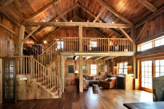 Farmhouse cultivates modern amenities vintage for Converting a pole barn into living space