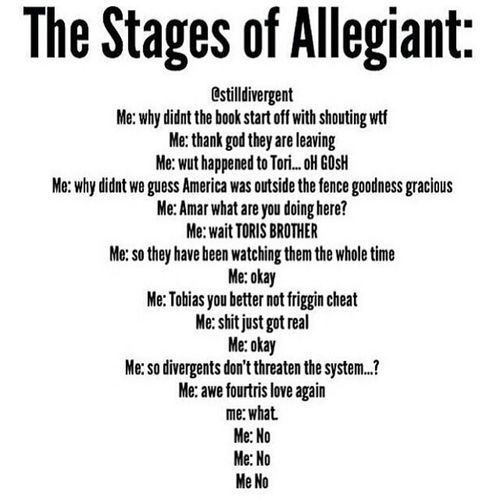 Stages Of Allegiant. Enough said. Veronica roth Veronica