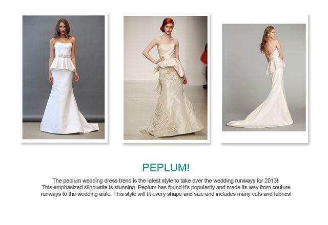 Peplum trends for 2013 Weddings
