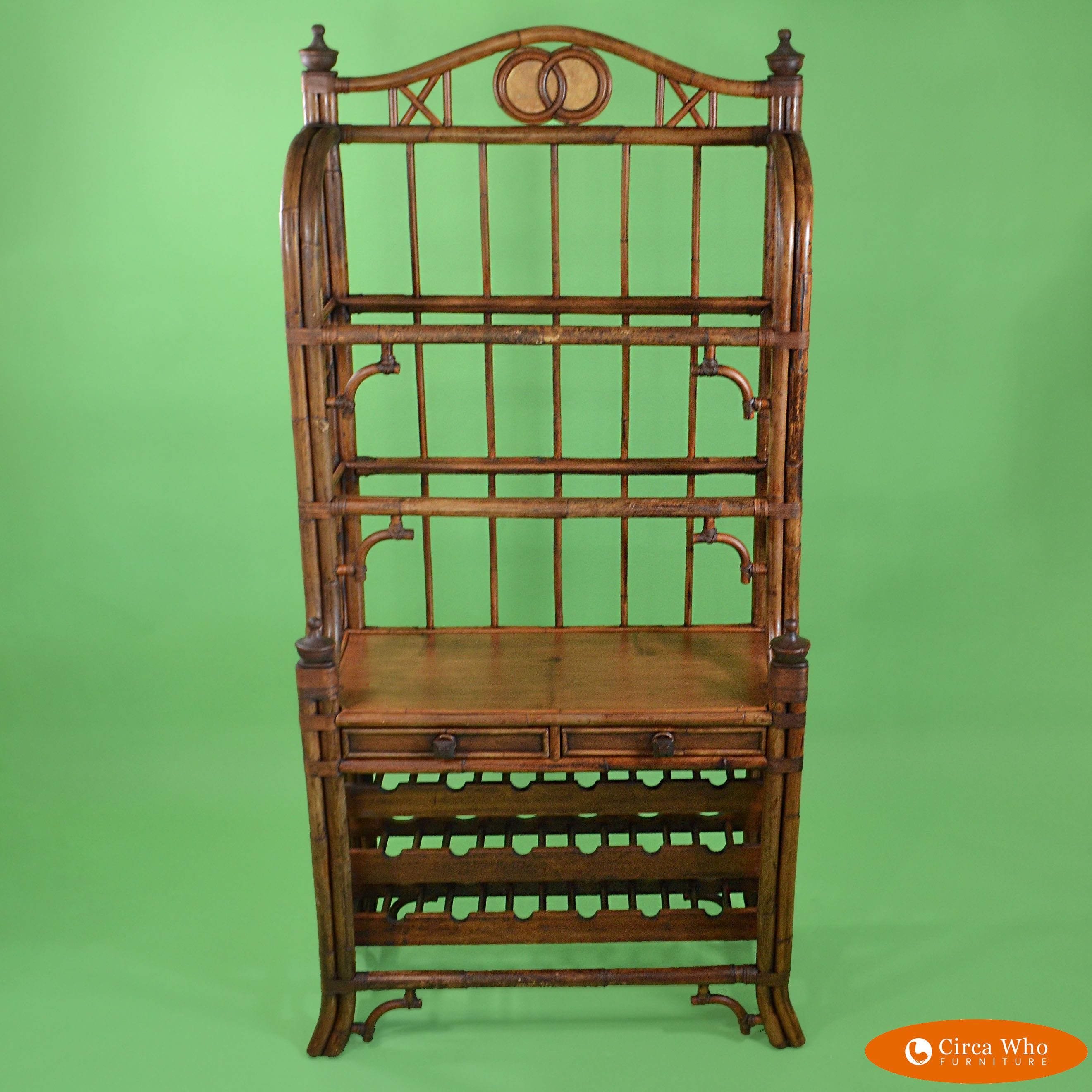Rattan Bamboo Baker S Rack Bar With Images Bakers Rack