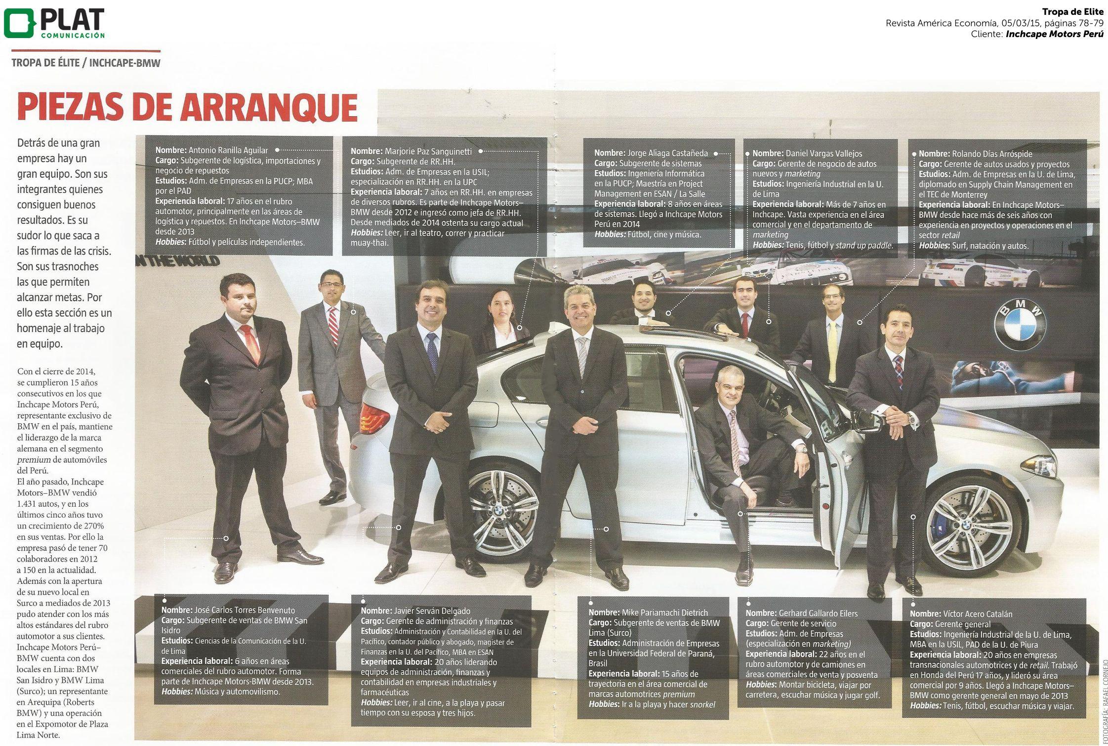 Inchcape Motors Equipo Directivo En La Revista America Economia De Peru 05 03 15