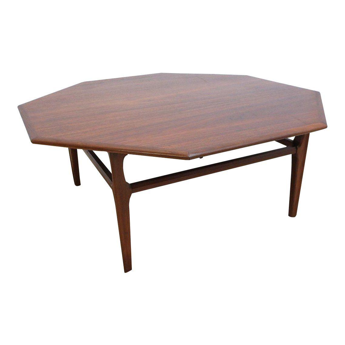 Danish modern octagon walnut floating coffee center table
