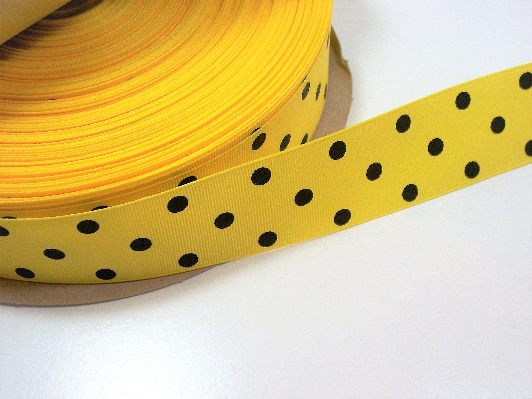 1 YARD 5//8 INCH GREEN AND YELLOW COLOR GROSGRAIN POLKA DOT RIBBON