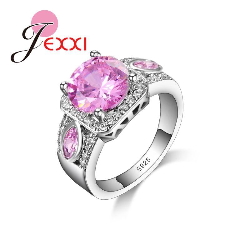 JEXXI 라운드 핑크 예쁜 웨딩 반지 여성 925 스털링 실버 귀여운 시니 최고 품질 CZ 다이아몬드 패션 보석