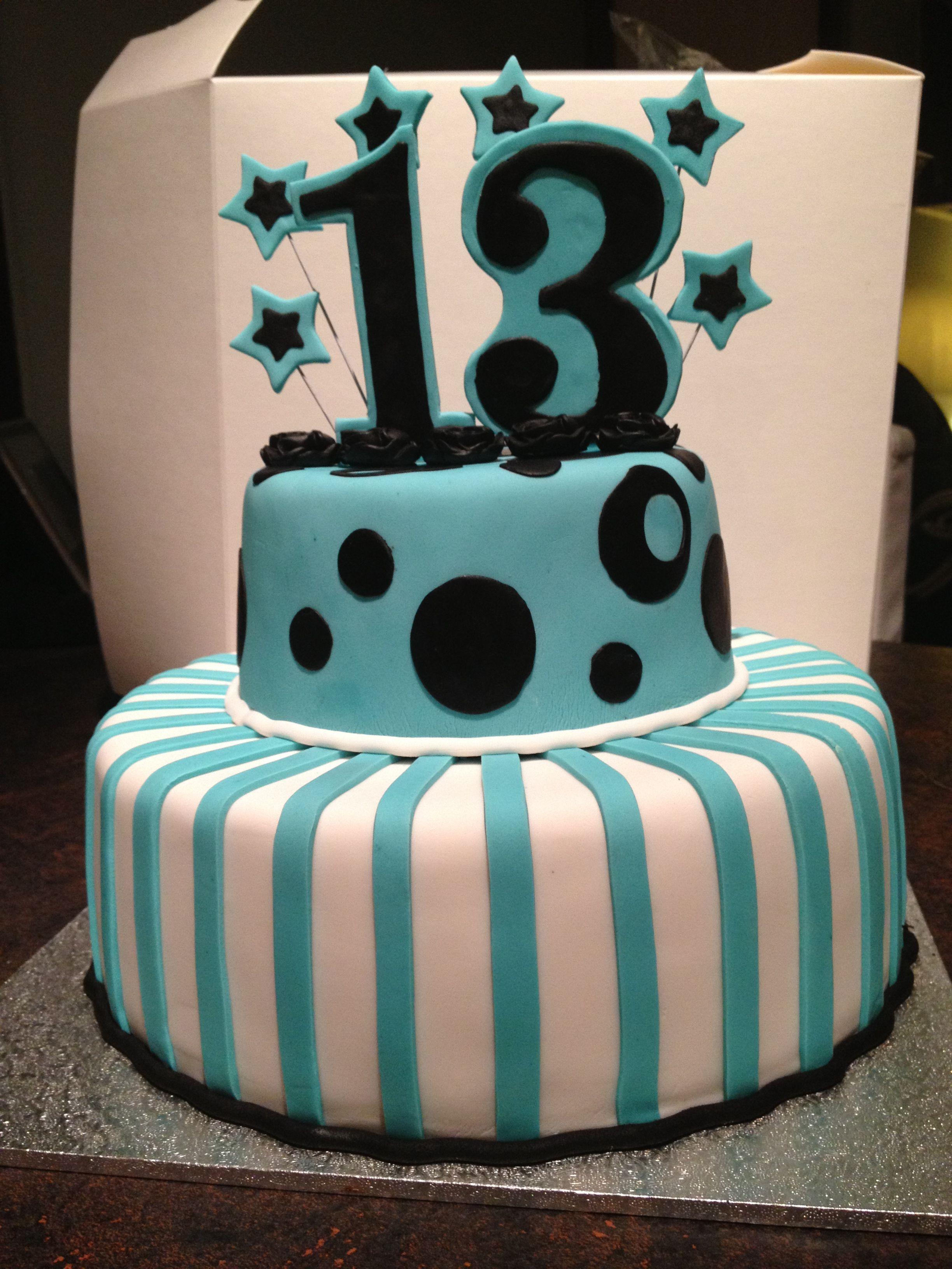 Teal White Black 13th Birthday Cake