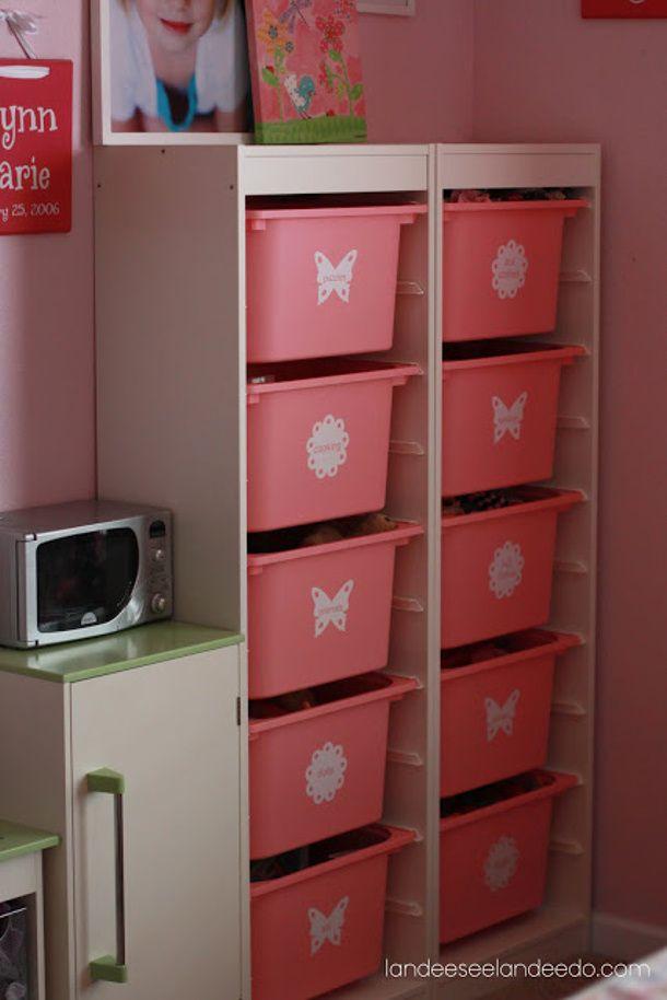 IKEA Bins Kids Toy Storage Idea For The Girls! DIY Tutorial Via Landeelu.com
