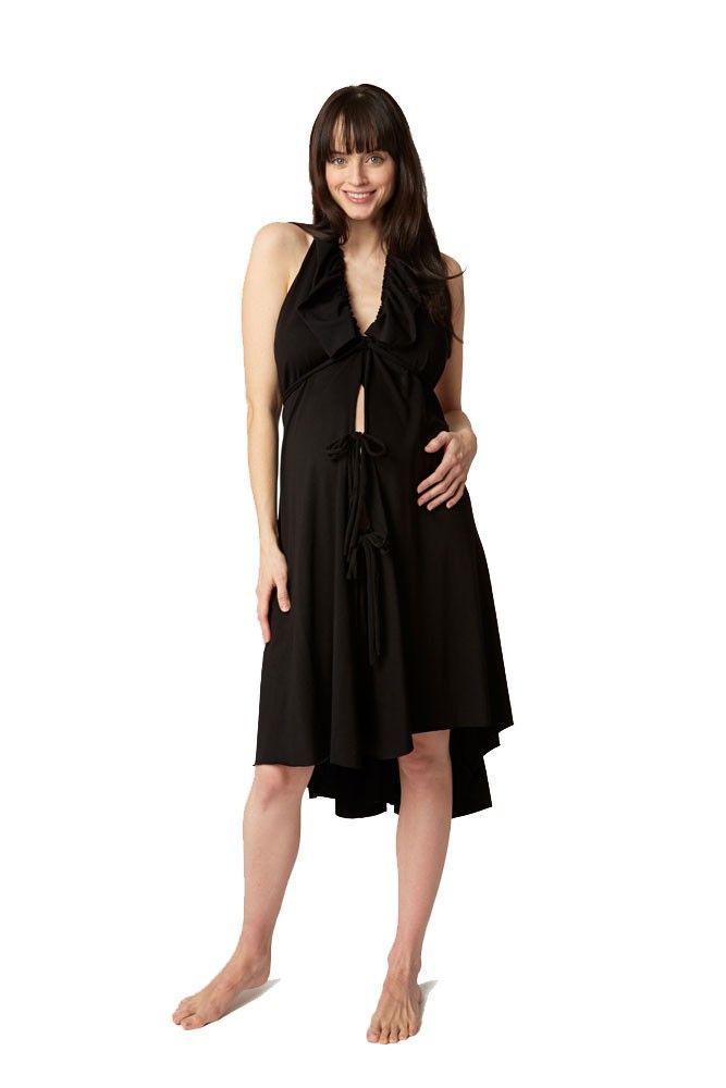 Pretty Pushers Ruffle Cotton Jersey Labor Gown in Black | Pregnancy