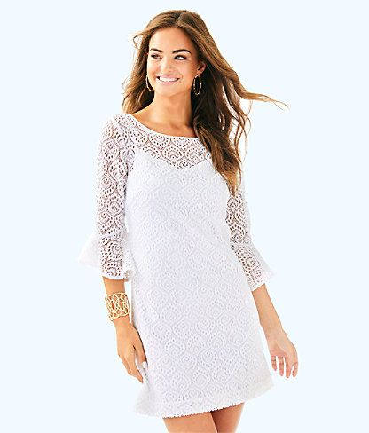 d905e7ce7dd644 Fontaine Dress, Resort White Gypsea Lace, large | Lilly Pulitzer ...
