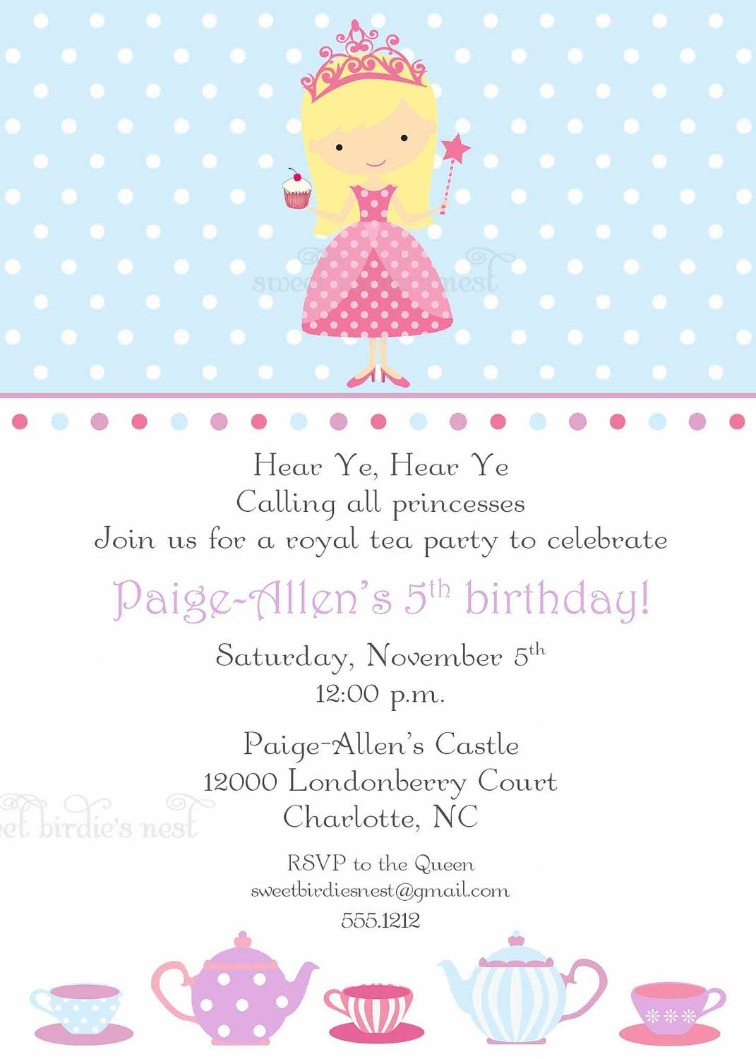 Princess Tea Party Invitation By Sweetbirsnest On Etsy 28 00