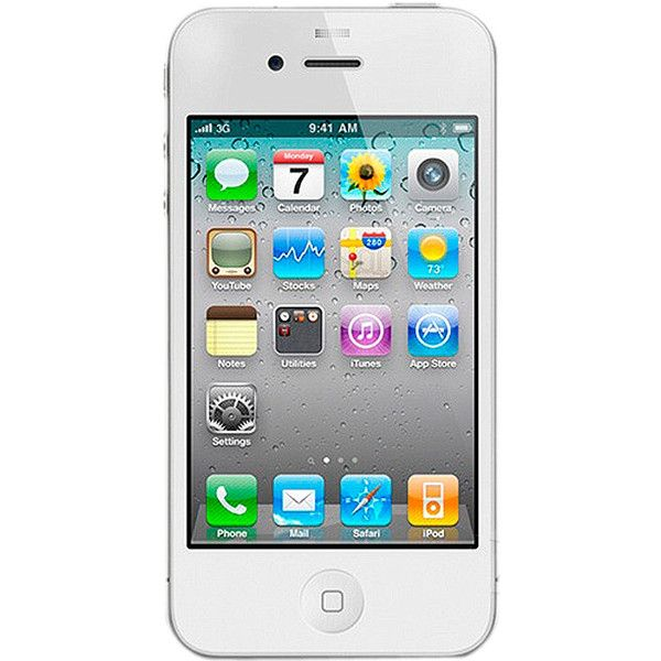 Apple IPhone4 32G White Mobile liked on Polyvore featuring